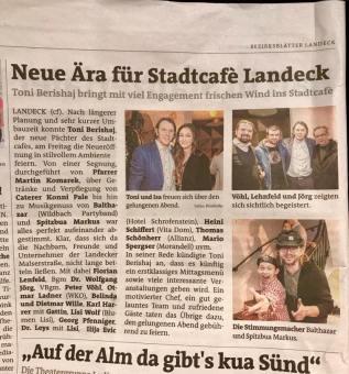 Die Bezirksblätter Landeck berichten über die Neueröffnung des Cafe Landeck