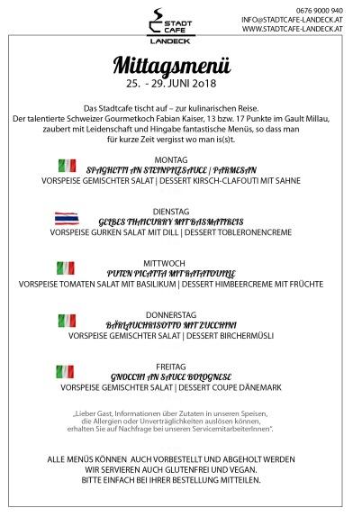Stadtcafe Landeck Mittagsmenü 25.-29. Juni 2018