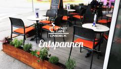 Cafe mit Sonnenterrasse in Landeck, Tirol, Austria. Malserstraße 49